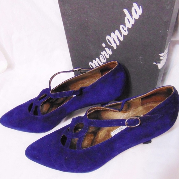 Meri Moda Shoes - Vintage MERI MODA Pumps Sz Eur 38 Blue Suede